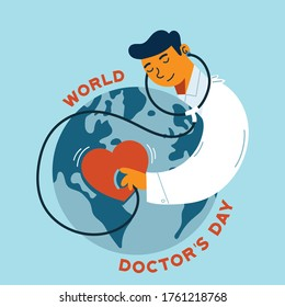 World Doctor's Day vector background. Happy Doctor's Day greeting card design with doctor, stethoscope and world globe. Doctor check earth health with his stethoscope vector.
