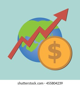 World with dollar coin and increase graph;inflation concept-vector