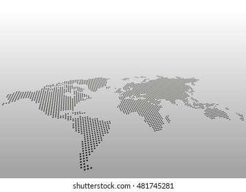 World dotted map. Vector background. Asymmetric perspective view.
