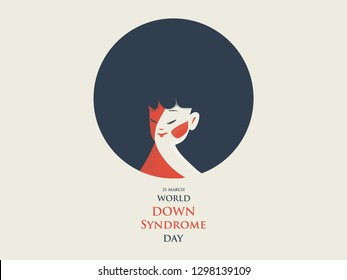 World Down Syndrome Day.  Cartoon of down syndrome patient girl with  happy gentle face in retro blue and orange earth tone color. With text of 21 march.Down Syndrome Awareness vector illustration.