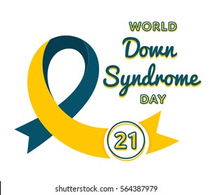 World Down Syndrome day emblem isolated vector illustration on white background. 21 march world healthcare holiday event label, greeting card decoration graphic element