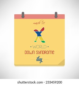 World Down Syndrome Day flat design vector illustration on calendar page.