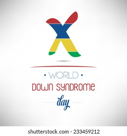 World Down Syndrome Day flat design vector illustration on white background