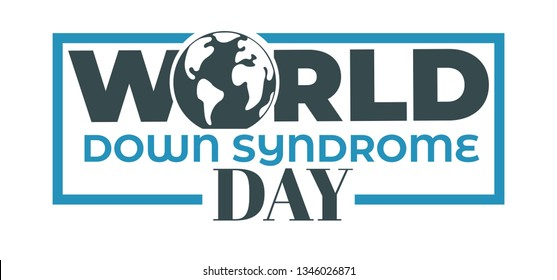 World down syndrome day isolated icon disability vector medicine and healthcare solidarity and tolerance aid and care emblem or logo lettering or sign mental disease or illness awareness campaign