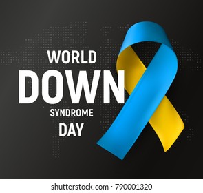 World Down syndrome day logo, symbol. Blue and yellow ribbon, awareness medical symbol, vector illustration on black background.