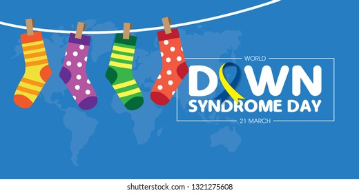 World Down Syndrome Day on 21 march, a Down Syndrome Awareness day vector illustration.