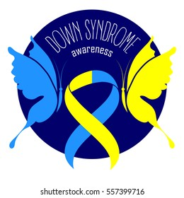 World Down Syndrome Day. Symbol of Down Syndrome. Yellow and blue ribbon and butterfly. Medical vector illustration. Health care