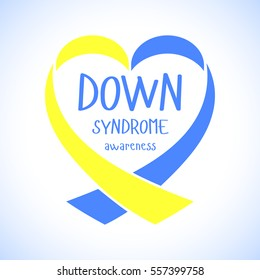 World Down Syndrome Day. Symbol of Down Syndrome. Yellow and blue ribbon heart. Medical vector illustration. Health care