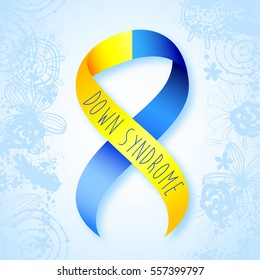 World Down Syndrome Day. Symbol of Down Syndrome. Yellow and blue ribbon. Medical vector illustration. Health care