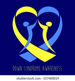 World Down Syndrome Day. Symbol of Down Syndrome Awareness. People and yellow and blue ribbon heart. Medical vector illustration. Health care