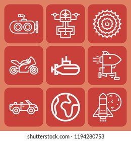 World, drone, submarine, motorcycle, convertible, shuttle, finance icon set suitable for info graphics, websites and print media and interfaces