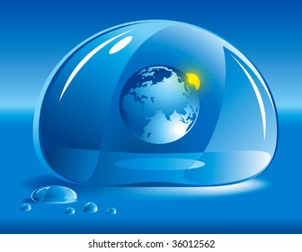 """World in a drop of water. Concept of """"take care of nature"""""""
