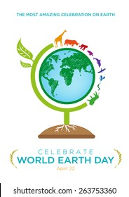 World Earth Day Celebration April 22 Poster design template. Globe made of a tree and with animals migrate around the world. Editable EPS10 Vector and large jpg illustration.