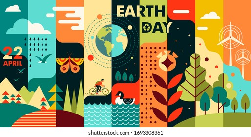World Earth Day. Flat style illustration depicting nature. Vector background