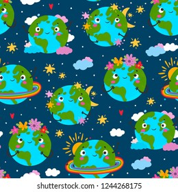 World Earth day. Hand drawn cute planet Earth in various conditions. Colored vector seamless pattern. Dark background