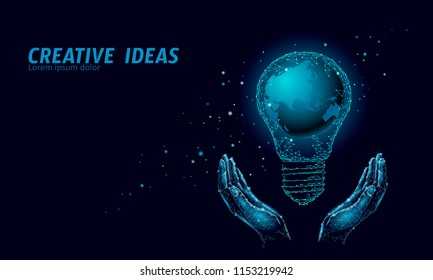 World Earth Hour light bulb concept. Polygonal night space star dark blue sky low poly lamp planet globe map eco save ecology environment electricity green energy power banner vector illustration