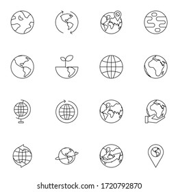 World and earth icon set. Simple earth icon sign concept. vector illustration.
