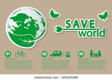 world with eco-friendly concept ideas,Infographic template,vector illustration
