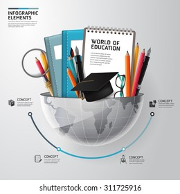 World of education concept infographics. Vector illustration. can be used for workflow layout, banner, diagram