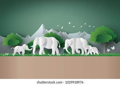 World elephant Day ,family of elephant in the forest , Paper art and digital craft style.