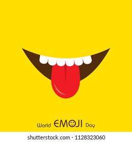 World emoji day greeting card design template with different feelings
