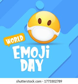 World emoji day greeting card or banner with smile face Emoji sticker with mouth medical protection mask isolated on abstract blue background.