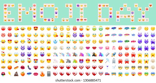 World Emoji Day Vector Illustration. July 17th. Lettering and Emoji Set for Digital or Print Project