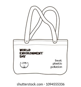 "World environment day 2018 concept. Design of hand-drawn-style canvas reusable bag with leaves print and ""Beat plastic pollution"" slogan on white background. Vector illustration."