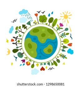 World environment day background. Save the earth. Green day. Sketch for your design
