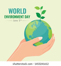 world environment day banner with hand hold seed plant on circle earth world vector design