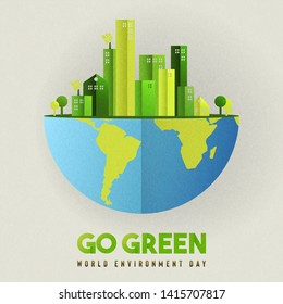 World environment day banner illustration. Eco friendly city concept with green buildings for sustainable urban lifestyle.