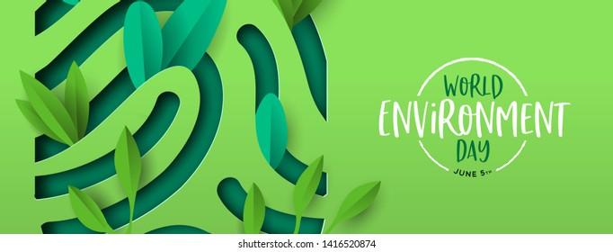 World Environment Day banner illustration of papercut human finger print with plant leaves. Recycled paper cutout for planet conservation.