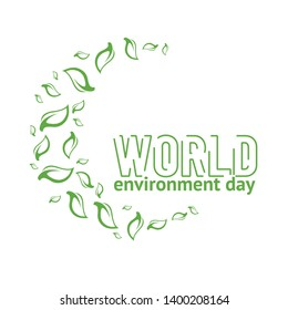 World Environment Day card or background with leaves from tree. Vector illustration with space for text.