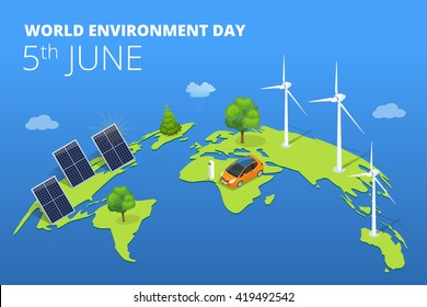 World environment day card, background. Vector illustration.
