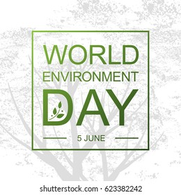 World Environment Day card or background with tree and leaves. Vector illustration