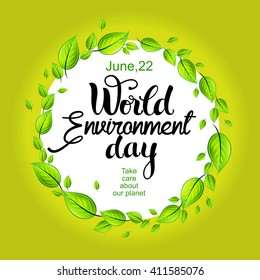 World Environment day card with decorative lettering