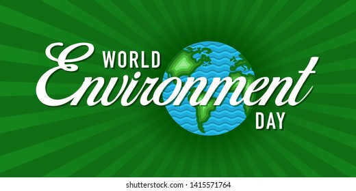 World Environment Day Celebration Concept, Banner, Logo Design, Icon, Poster, Unit, Label, Mnemonic with Green Background - Vector, illustration