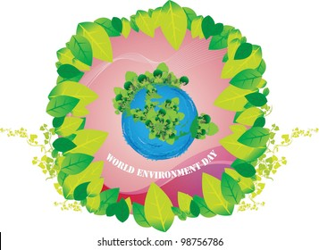 World Environment Day - clean planet and beautiful decorated with green leaves frame on white background : vector illustration
