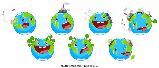 World Environment day concept . World Earth day. Cartoon of Earth character set.  Sick Earth, healthy Earth.vector illustration.