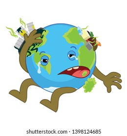 World Environment day concept . World Earth day. Cartoon of Earth character.  Chemical waste - Sick Earth vector illustration.