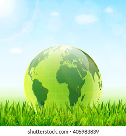 World environment day concept. Earth globe with green grass and blue sky vector background