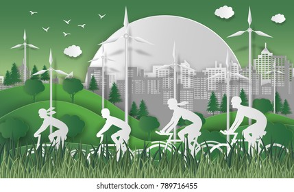 World environment day concept. energy concept with Green Eco Earth and Trees. With happy family riding bicycle. For encouraging awareness and action for the protection of environment. paper art style.