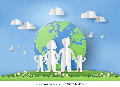 World Environment Day concept, family holding hands, paper art and craft style, flat-style vector illustration