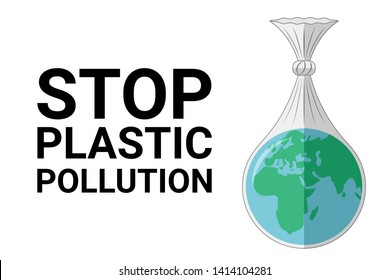 World environment Day concept. Stop plastic pollution. Planet earth in a plastic bag. White isolated background.