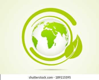 World Environment Day concept with stylish world map and green leaves on abstract background.