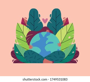 World Environment Day. Earth Day. Celebration of sustainability, ecology, protect planet Earth from global warming and climate change. Take care of your home planet. Editable illustration for web.