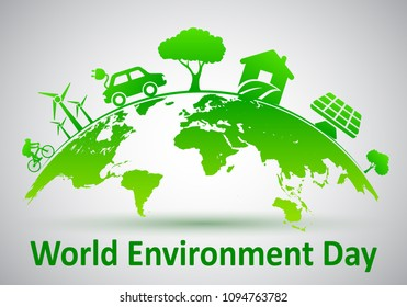 World Environment Day, ecology planet - vector