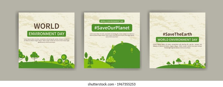 World Environment Day. Education and campaigns on the importance of protecting nature. social media post for World Environment Day.