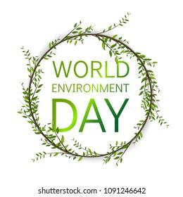 World Environment Day. Floral circle vector card Design. Vector garden illustration.