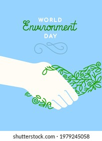 World Environment Day greeting card illustration of people hands doing hand shake gesture with green plant for nature help event on june 5.